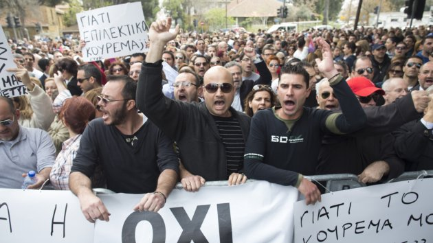 Protests Outside The Cypriot Parliament Building As Bailout Debate Continues